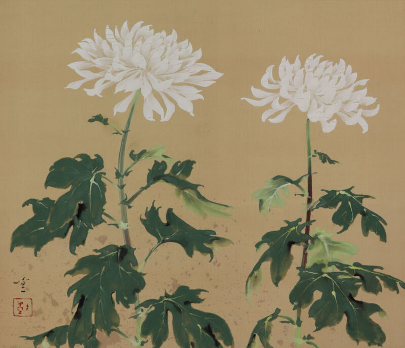 JAPANESE PAINTING HANGING SCROLL FROM JAPAN Chrysanthemum VINTAGE ART 531p