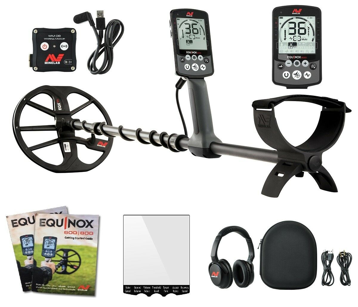 """Minelab EQUINOX 800 Multi-IQ Metal Detector with EQX 11"""" Double D Smart Coil"""