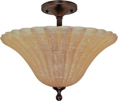 Moulan 3 Light 16 inch Dimmable LED Copper Bronze Semi-Flush Ceiling Light Copper Semi Flush Ceiling Light