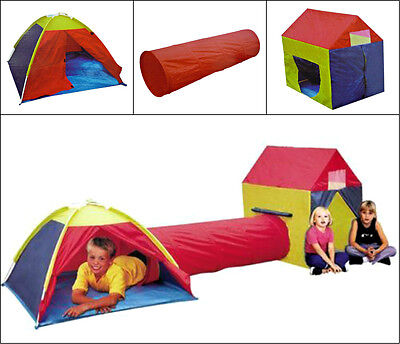 3 WAY COLOURFUL KIDS PLAY TENT MODEL B WITH DOME HOUSE AND CONNECTING TUNNEL NEW