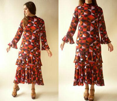 ISA ARFEN Label Mix Next Geometric Silk Blend Printed Midi Ruffle Dress Size S