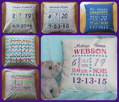 PERSONALIZED MONOGRAM CUSTOM Baby Infant Newborn Birth Announcement Pillow GIFT!