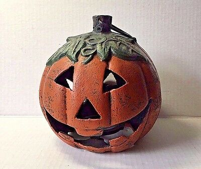 "Halloween Heavy Cast Iron Jack O Lantern Pumpkin Tea Light 7"" Diam"