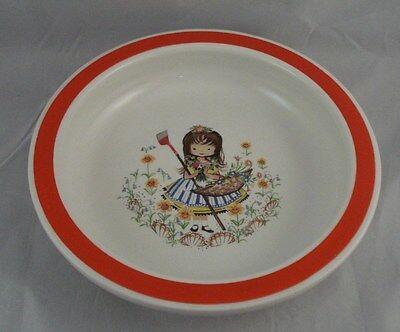 Wood & Sons Alpine White Bowl England - Red Band Rim - Girl in Flower Garden