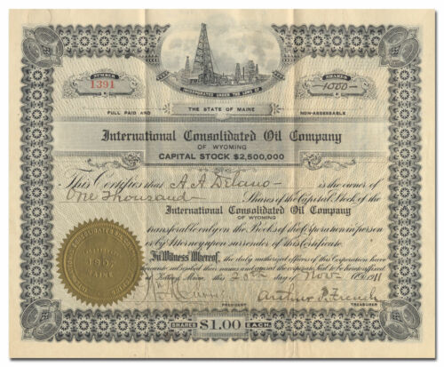 International Consolidated Oil Company of Wyoming Stock Certificate