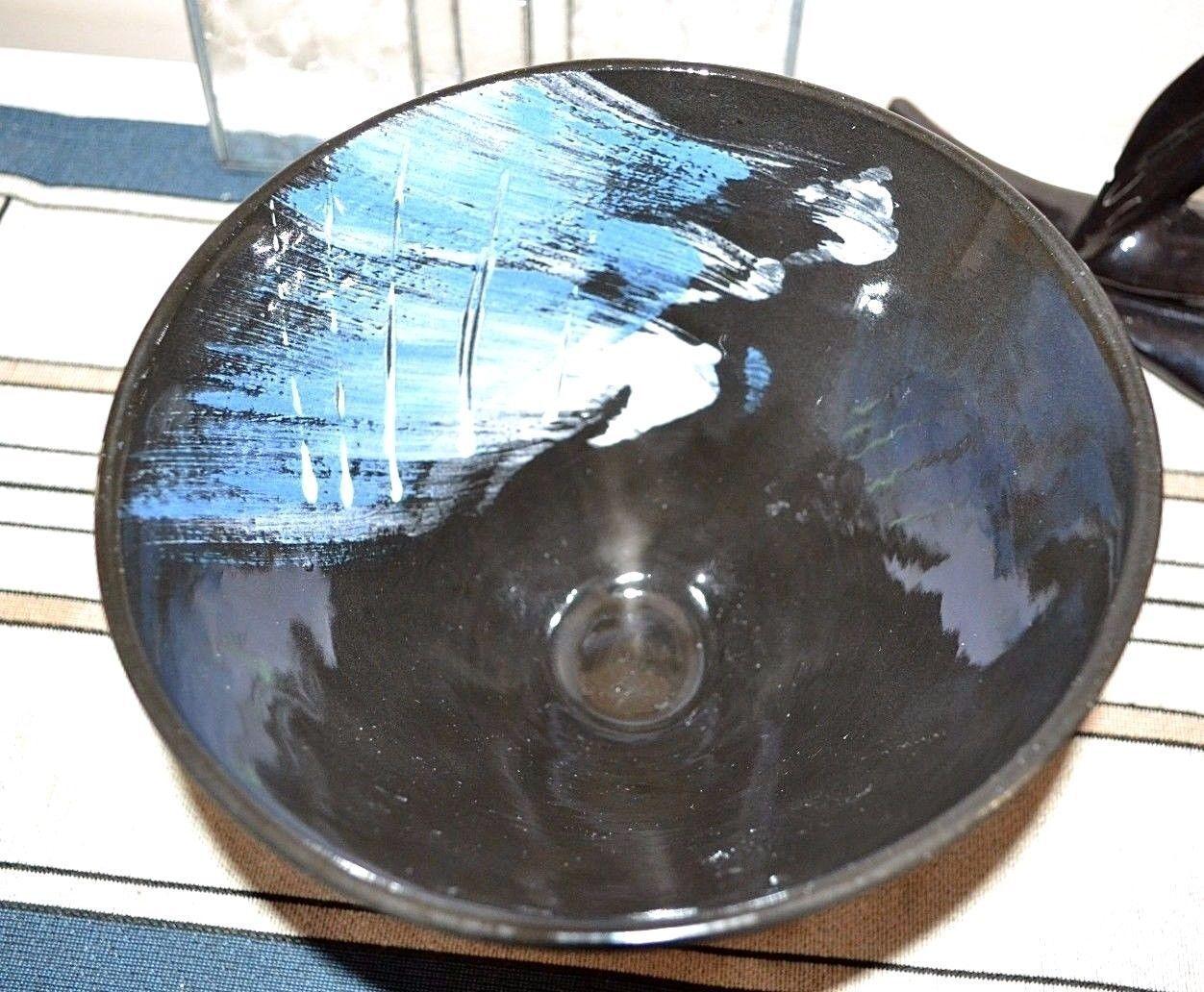 Купить Steve Howell Signed Hand Designed Black Majolica Ceramic Art Studio Pottery Bowl