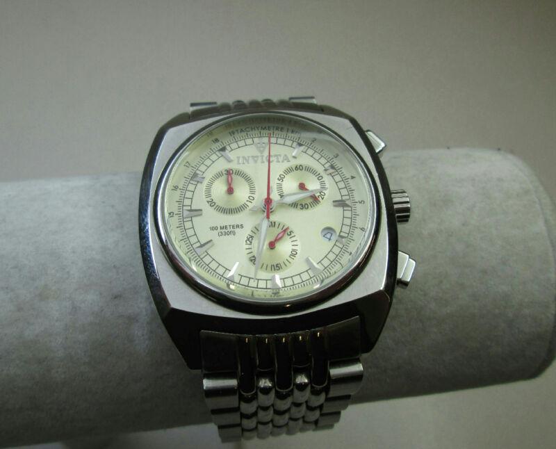 Invicta Men's Jewelry Wrist Watch Tachymetre No. 3916 Silver Tone