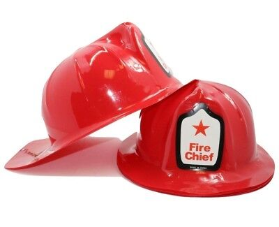 Adult  Size Fireman Firefighter Fire Chief Hats (12 Pack) Plastic  Helmets