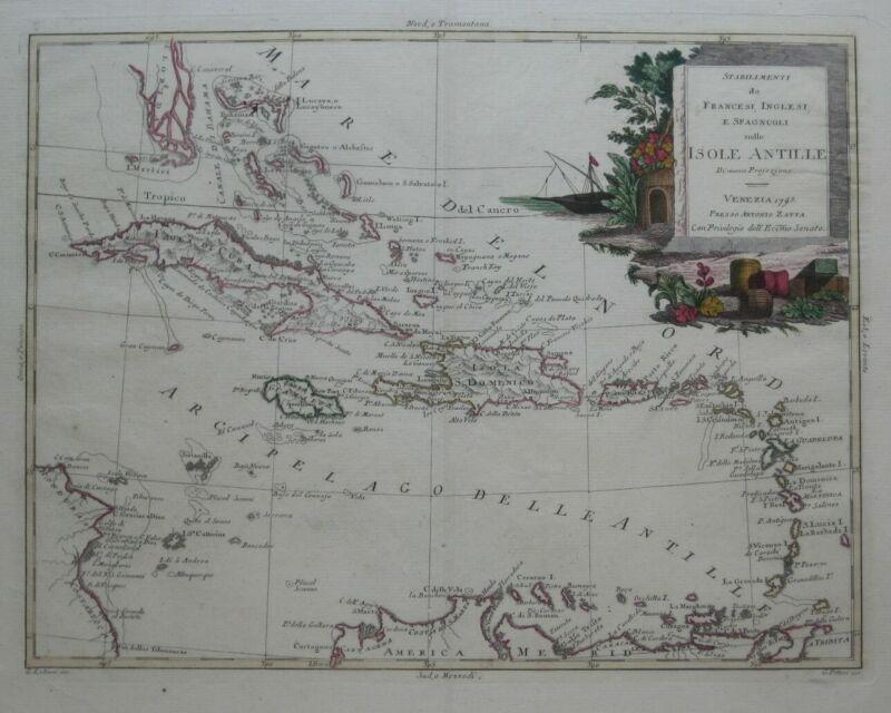 Original 1795 Zatta Map WEST INDIES Florida Cuba Bahamas Jamaica Trinidad Aruba