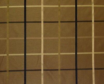 PLAZA CAFE #53653 BROWN PLAID TAFFETA FAUX SILK DESIGNER FABRIC BY YARD 57