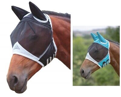 Shires Fine Mesh Horse Equine Fly Mask With Ears 60% UV (Mesh Fly Mask)