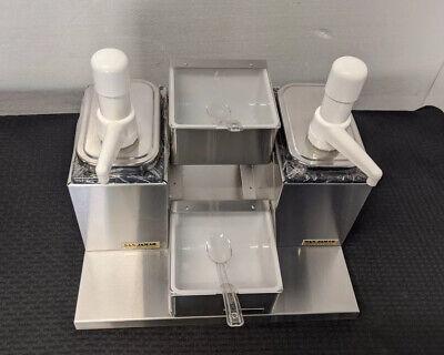 San Jamar P9725 Ss Self-serve Condiment Topping Dispenser 2 Jars 2 Pumps