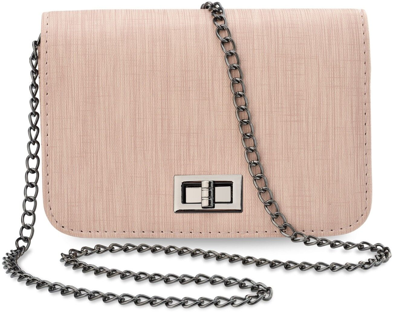 Kleine Schultertasche steife Ausführung Damentasche mit Kette Handtasche rosa