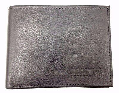 70 Kenneth Cole Mens Black Leather Bifold 8Cc Rfid Id Insert Credit Card Wallet