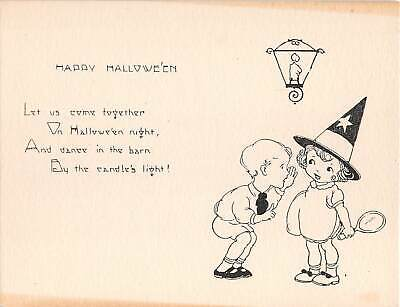 c.1930? Boy Inviting Girl to Halloween Party Invitation card - Boy Girl Halloween Party