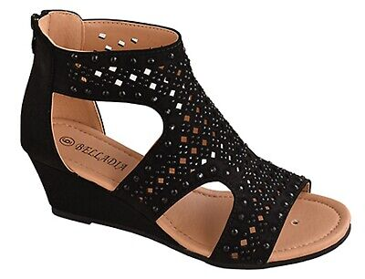 New women strappy gladiator wedge. platform heel zipper sandals open toe (Heel Strappy Platform Sandal)