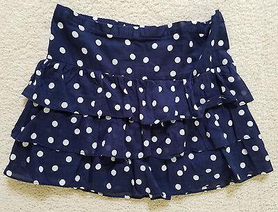 Navy And White Polka Dot Skirt (Juniors Aeropostale Navy and White Polka Dot Tiered Skirt)