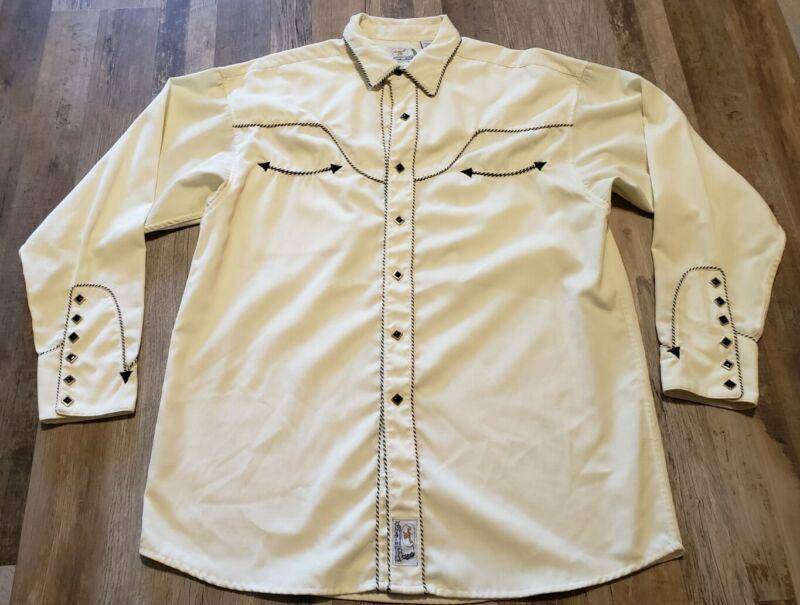 Panhandle Slim Retro Western Pearl Snap Shirt Mens Large Stripe Piped Beautiful!