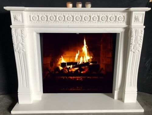 Hand Carved ENGLISH MANTEL - WHITE MARBLE MANTEL HAND CARVED STONE