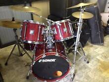 SONOR 5 PCE HILITE DRUM KIT INC CYMBLAS AND HARD ROAD CASES Branxton Singleton Area Preview