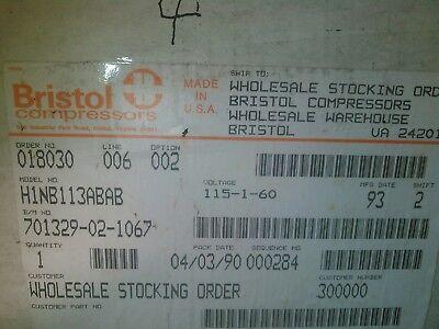 Bristol Compressor H1nb113abab 11000 Btu115-1-60