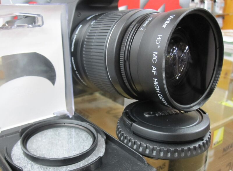 Wide Angle Macro Lens For Canon sl1 xti t2i t3i T4i xt t3 t5i w/18-55 FLD