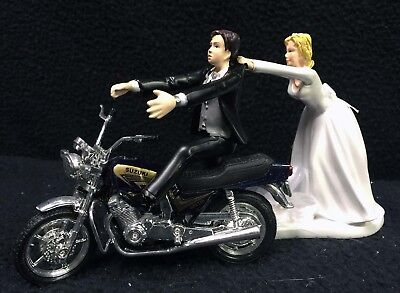 SALE!! Wedding Cake Topper Black Suzuki Motorcycle Bike Groom Top Off road Track, used for sale  Shipping to India