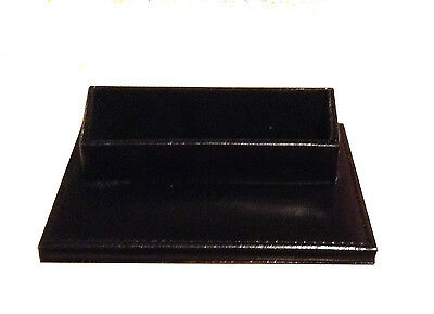 Genuine Leather Business Card Holder Desk Display - Black With Gift Box