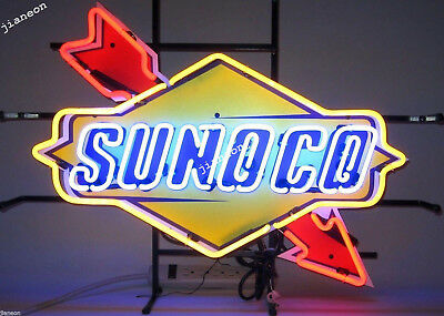 """19""""X15"""" New SUNOCO RACING FUEL DECAL GAS MOTOR OIL PUMP STATION NEON LIGHT SIGN"""