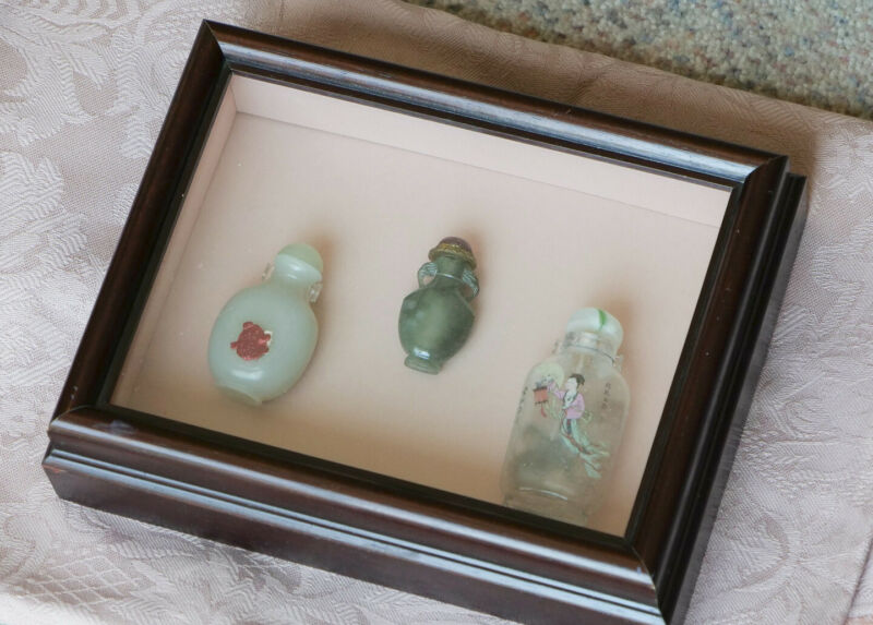 Antique Chinese Snuff Bottle Collection - Custom Shadow Box