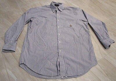 NICE Chaps Ralph Lauren Crest Logo Blue White Striped Dress Shirt Men's 16 32/33