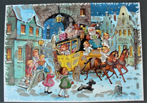 """Vintage Advent Christmas Calendar  Kruger West Germany 8"""" by 11"""" with Glitter"""