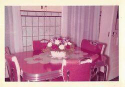 CLASSIC 1950s KITCHEN TABLE VINYL CHROME CUCKOO CLOCK OOF SKELETON KEY PHOTO