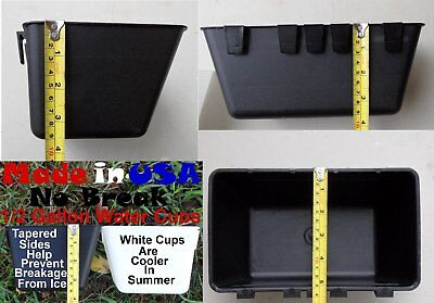 Cage Cups 6pk Black 1/2 Gallon Large Hanging Water Cage Cups Chicken Pheasant