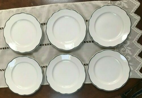 "6 Buffalo China Blue Rim Scalloped Edge Salad Plates 8 1/2"" Vtg Restaurant Ware"