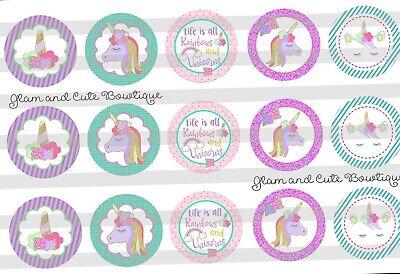 15-1in. Precut Bottle Cap Images Unicorns And Rainbows - Unicorns And Rainbows