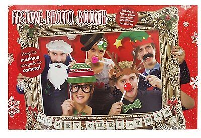 Photo Booth Props WIth Frame Christmas Theme Festive Holiday Party Fun ()