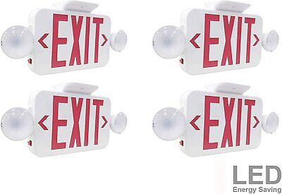 Lit-path Led Combo Emergency Exit Sign With 2 Adjustable Head Lights 4 Pack