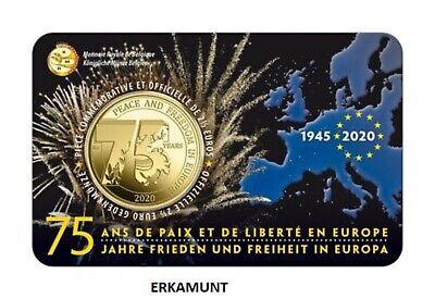 """2x2,5 euro BELGIEN 2020 coincard """" 75 Jahre Frieden und Freiheit """" VVK"""