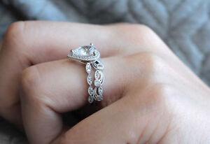 Certified 28CT Pear Shape Diamond Engagement Wedding Ring Set 14K White Gold