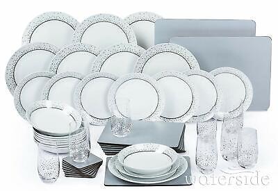 50Pc Porcelain White & Silver Dinner Side Plate Bowl Set Dinnerware Crockery Set Porcelain Side Plate