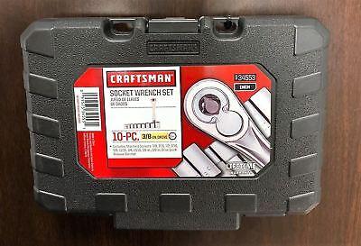 "New CRAFTSMAN 10 pc.6 pt. 3/8"" Standard Socket Wrench Set Sockets And Case 34553"
