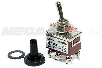 Toggle Switch Heavy Duty 20a125v Momentary Dpdt On-on Wwaterproof Boot.