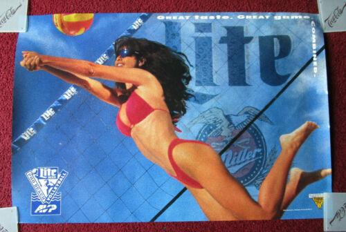 Sexy Girl Beer Poster Miller Lite ~ Pro Beach Volleyball Net Red Bikini AVP