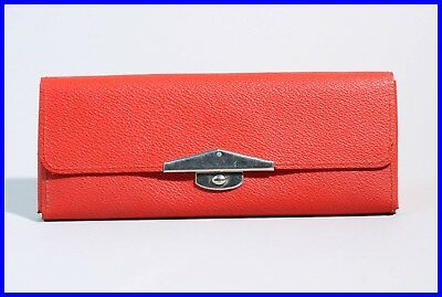 1940's red leather pencil case pouch / etui / with fountain pen loop GERMANY