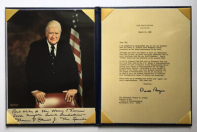 THOMAS TIP O'NEILL SPEACKER OF THE HOUSE SIGNED PHOTOGRAPH W/ REAGAN LETTER COPY