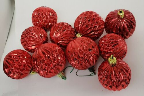 Vintage RED unbreakable Plastic Christmas Ornaments 2 sizes lot of 10