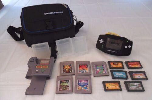 Nintendo Game Boy Advance Black w/ Game Genie, 11 Games & Case Bundle