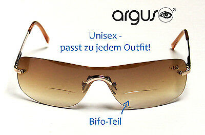Bifokale Sonnenbrille Lesebrille Lesehilfe argus  Etui NEU gold/braun