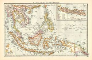 1895 LARGE VICTORIAN MAP ~ SIAM & THE MALAY ARCHIPELAGO INSET JAVA ~ NEW GUINEA